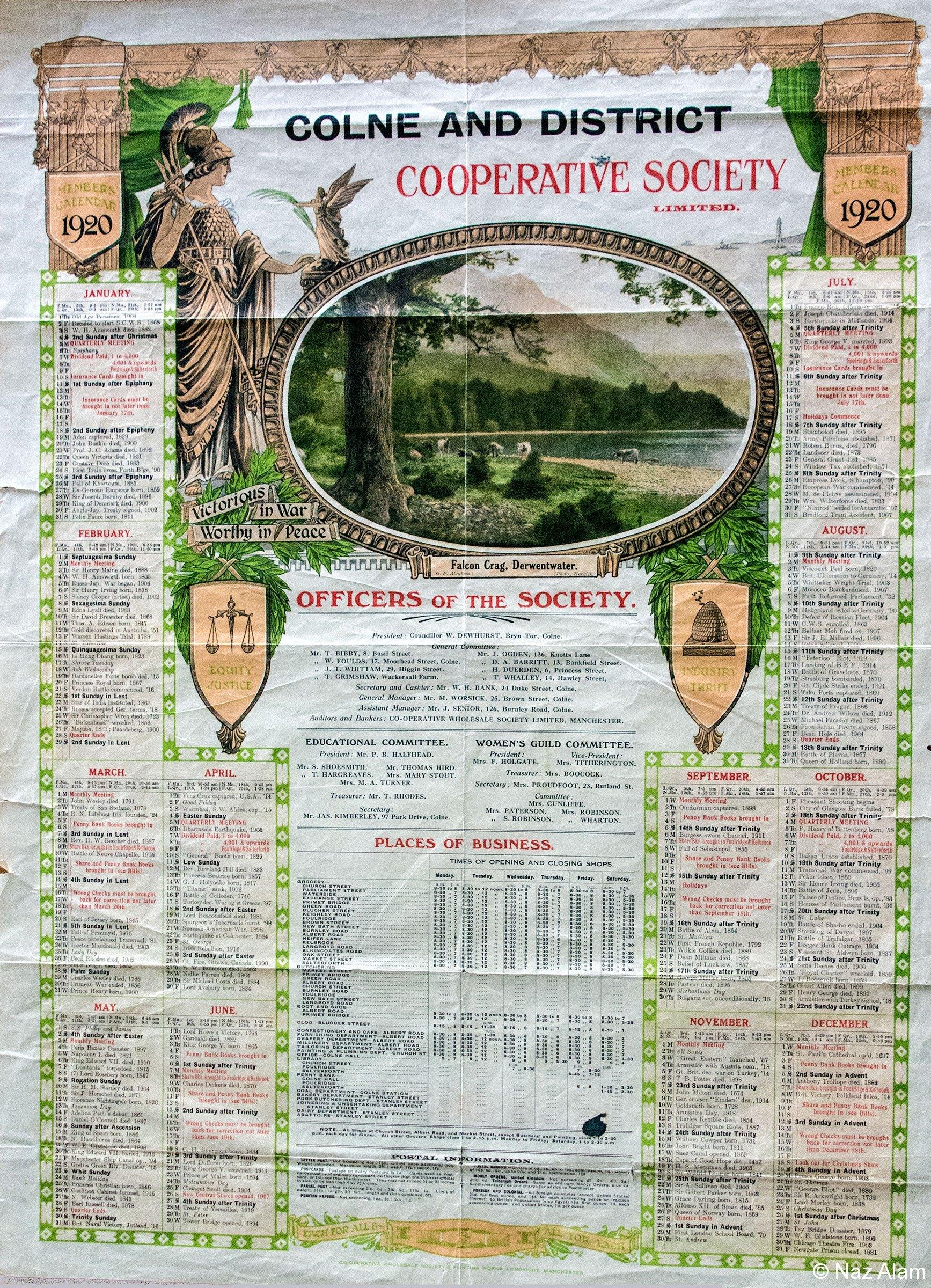Colne & District Co-Op: Members Calendar 1920