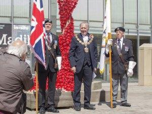 Pendle Mayor with flag bearers