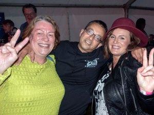 Enjoying the festival: Kim, Naz  & Nicola